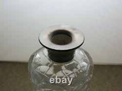 Cut Glass Crystal Decanter With Hallmarked Silver Collar 10 1/4 Tall