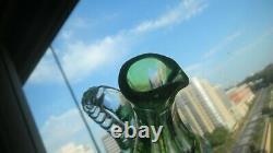 Cut clear GREEN 9 1/2 DECANTER cut glass