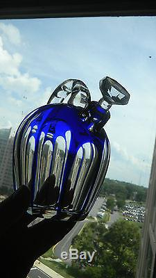 Cut to clear Whiskey Rum Jug decanter cased with 6 glasses Libbey Hoare Hawkes
