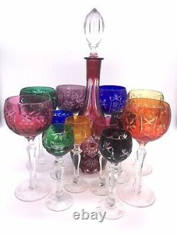 Czech Bohemian Cut to Clear Multi-Colored Wine Decanter & 12 Goblets Glasses Set