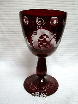 Czech Egermann Art Glass Red/Ruby Cut to Clear Bohemian Decanter with 6 glass
