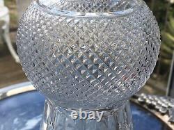 EDINBURGH Crystal ENGRAVED THISTLE WHISKY Round GLASS DECANTER Label HOBNAIL