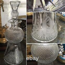 EDINBURGH Crystal ENGRAVED THISTLE WHISKY Round GLASS DECANTER SIGNED HOBNAIL