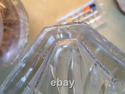 EDINBURGH Crystal ENGRAVED THISTLE WHISKY SQUARE GLASS DECANTER SIGNED HOBNAIL