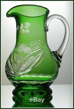 EMERALD GREEN Pitcher Decanter Cut to Clear Lead Crystal Floral Blossoms Germany