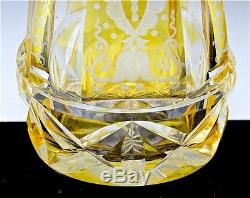EXQUISITE PAIR VICTORIAN BOHEMIAN YELLOW CUT TO CLEAR GLASS WHISKEY DECANTERS
