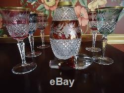 Ebeling & Reuss Marchioness Color Cut To Clear Crystal Wine Decanter & Clarets
