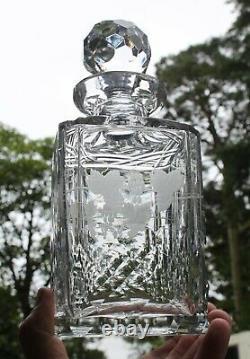 Edinburgh Crystal Decanter Whisky Glass Set & Tray Lochnagar Cut 1950s RARE