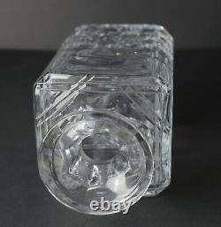 Edinburgh Crystal Decanter hobnail cuts, globe form stopper, criss cross cuts