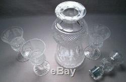 Edinburgh Scottish Crystal Thistle Cut Port/Sherry/Cordial Decanter & 3 Glasses