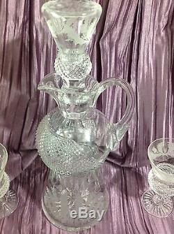 Edinburgh Thistle Claret Wine Decanter & 3 Claret Wine Glasses Goblets