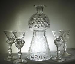 Edinburgh Thistle Decanter with Four Cordial Glasses