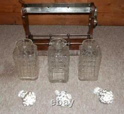 Edwardian Silver Plate Triple Tantalus with Three Crystal Cut Glass Decanters