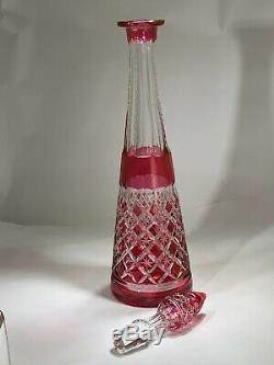 Elegant Val Saint Lambert Large Cut Crystal Cranberry To Clear Decanter