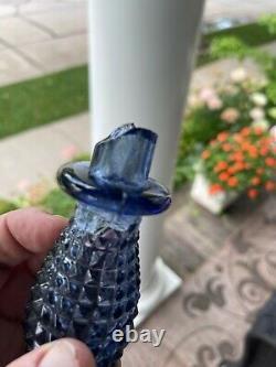 Empoli Genie Bottle Glass Decanter Purple Lavender Diamond Cut