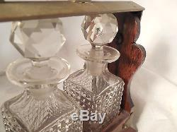 English Oak Crystal Cut Glass Tantalus Decanter Set Salesman Sample Rimmel Londo