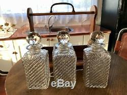 English Victorian Tantalus With Three Cut Glass Decanters & Key Drop Front