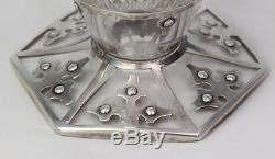 Exceptional Arts Crafts RARE Shreve 14th Century STERLING Cut Glass Decanters