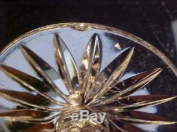 FAB1960's CUT GLASS Crystal Footd Decanter & 6 RING STEM Wine Glasses PANEL CUT