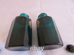 FABULOUS PAIR OF GEORGIAN FACETED BRISTOL GREEN DECANTERS Rum and Hollands