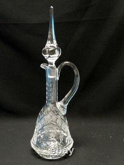 FABULOUS VINTAGE CUT CRYSTAL ROSE MOTIF DECANTER with STOPPER 15.5