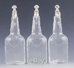 FINE GERMAN SILVER & CUT GLASS 3pc LIQUOR DECANTERS withSTAND