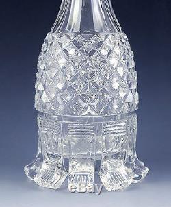 FINE PAIR c1850s CLEAR CUT GLASS CORDIAL/LIQUOR DECANTERS NEAT DESIGN