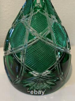 Faberge CZAR IMPERIAL Emerald Green Crystal Decanter Cut to Clear 13.25