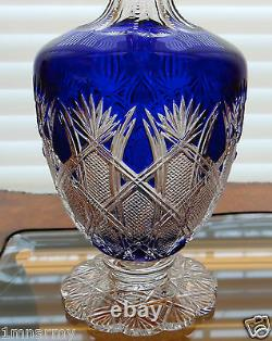 Faberge Imperial Czar Pitcher Decanter Cased Cut To Clear Crystal Signed