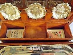 Fabulous Oak/Brass Tantalus/Games Compendium/Decanter Box