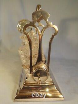 Fabulous Tilting Tantalus Walker & Hall lock And key