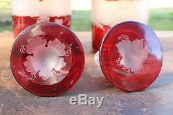 Fine Antique Ruby Red Bohemian Deer Etched Glass Decanter Set of 2 Cut To Clear