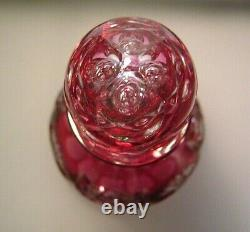 Fine Cranberry Cut To Clear Bohemian Crystal Decanter 15