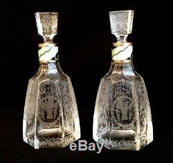 Fine Guilloche Enamel & Cut Glass Decanters By Lenk Austria Art Nouveau Baccarat