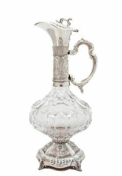 Fine Sterling Silver & Fine Cut Crystal Hand Chased Wine Decanter