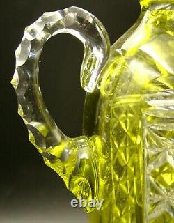 French Baccarat Crystal Decanter Handle Ewer Lime Cut to Clear ca 1900
