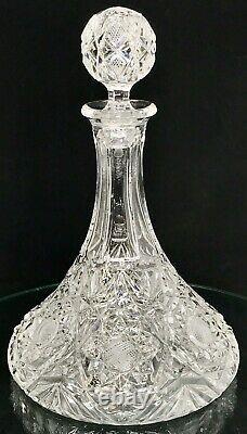 GORGEOUS RARE Antique American Brilliant Cut Crystal Liquor Decanter Amazing