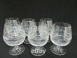 Galway Irish Crystal Leah Cut Ships Decanter Set 6 Brandy Glasses Wooden Base