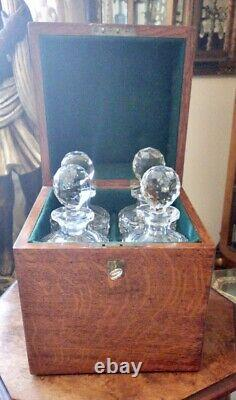 Georgian Antique Travelling Campaign Tantalus With 4 Crystal Cut Glass Decanters