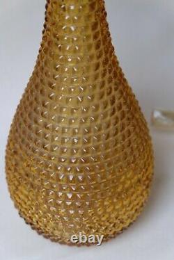 Golden Yellow Spikey Diamond Cut Genie Bottle Decanter 1960s Glass Empoli MCM
