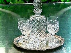 Gorgeous Vintage Hand Cut Crystal Set Decanter 5 Wine Glasses Silver Tray Bohemi