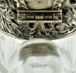 Gorham Sterling Silver & Cut Glass Wine Pitcher Jug Bird Motif Date Marked 1886