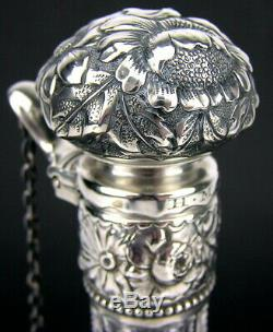 Gorham Sterling Silver Floral Repousse Mounted Cut Glass Claret Jug Decanter