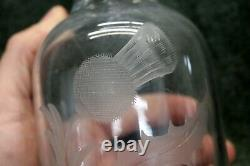 HAWKES Cut Glass Etched THISTLE Decanter with Cork 11.5 LIQUOR vintage Alcohol