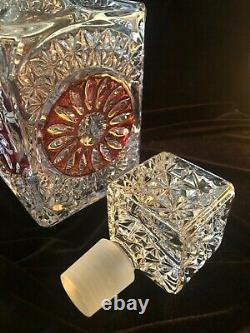 HOFBAUER Byrdes Collection Ruby German Cut Crystal-SQUARE DECANTER With STOPPER