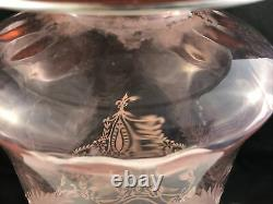 Heisey Optic Flamingo Cut with Sterling Overlay Christos #4027 Decanter A
