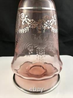 Heisey Optic Flamingo Cut with Sterling Overlay Christos #4027 Decanter B