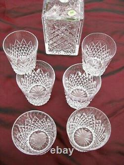 IRISH TYRONE CRYSTAL WHISKY DECANTER AND SIX WHISKY TUMBLERS 1st QUALITY MINT