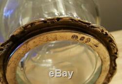 J. D. Schleissner 800 Silver Cut Glass Liquor Decanter/Water Carafe Knight Horse