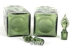 James Powell & Sons Whitefriars Harry Powell Square Cut Glass Decanters